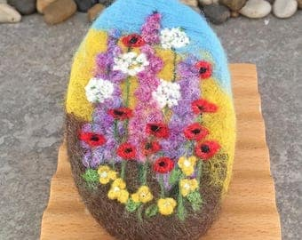Felted Goat Milk Soap - Wildflower Garden Themed and Scented with a Fresh Picked Garden Herb and Floral Fragrance