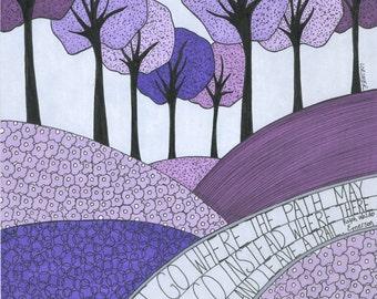 Leave a Trail Art Print, Inspirational Art, Ralph Waldo Emerson, Wall Art, Landscape, Trees