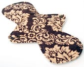"""11"""" Heavy Flow Reusable Cloth Menstrual pad-bamboo core - waterproof PUL - cotton flannel top in """"Brown Damask"""""""