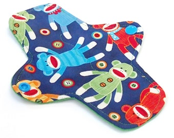 7 inch Reusable Pantyliner - Cloth winged ULTRATHIN Pantyliner - Quilter's Cotton top in Sock Monkey