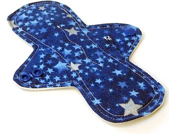 8 inch MODERATE flow Cloth Menstrual pad -bamboo/organic cotton core- PUL - Quilter's Cotton top  - Silver Stars