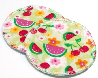 "4.5"" Reusable Cloth Nursing Pad Set in Bamboo/Organic Cotton with heavy fleece in Cotton Flannel - Fruit Salad"