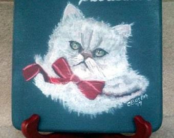 Pet portrait, pet portrait on display disk, pet memorial painting, small disk with pet portrait, easel with pet portrait, cat memorial