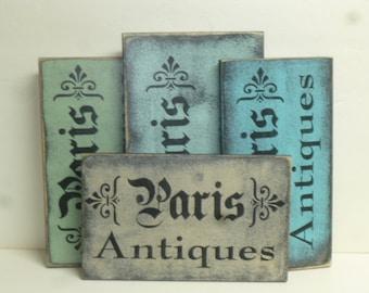 STORE CLOSING SALE! 50% off all signs / Paris Antiques sign / Paris/ hand painted sign / French antiques sign /Paris apartment decor / Paris