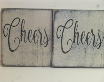 CHEERS WALL SIGN / hand painted Cheers sign / Cheers sign / sign for bar / wood wall sign / Cheers / drink station Cheers sign / wall decor