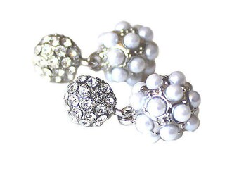 Clear crystal heart silver post earrings CLEARANCE