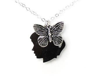 Clearance Sale Face profile silhouette and butterfly charm silver necklace