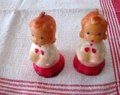 Vintage Gurley Novelty Candles, Two Small Girl Carolers, Unused Candles, Collectibles