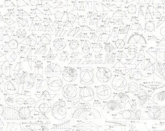 ENCYCLOPEDIA GALACTICA GEOMETRY White Mathematical Illustration Quilt Fabric - by the Yard, Half Yard, or Fat Quarter Fq by Suite 1500
