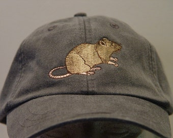 BROWN RAT RODENT Hat - One Embroidered Wildlife Cap - Price Embroidery Apparel - 24 Color Caps Available