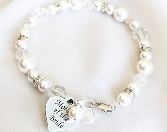 Mother of the Bride Pearl Bracelet // mother of the groom bracelet, mothers gift bracelet, mother of the bride jewelry, white pearl bracelet