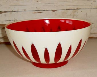 Vintage Regaline Lotus Pattern Plastic Serving Bowl RED  1960s