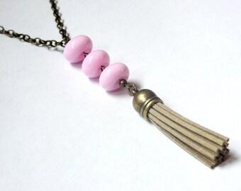 Beige Tassel Necklace - Long Tassel Necklace - Pink Necklace - Pink Beaded - Fringe Necklace - Brown Tassel Necklace - Tan Tassel Necklace