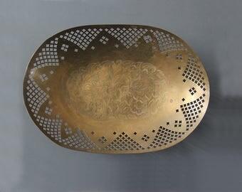 Pierced Filigree Brass Bowl