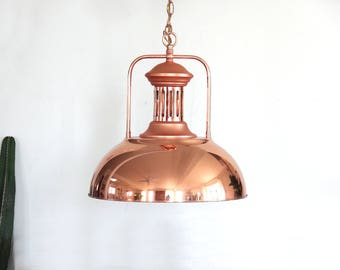 Large Hanging Industrial Copper / Rose Gold Pendant Light Lamp
