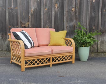 Rattan Loveseat Couch w/ Pink Velvet Cushions