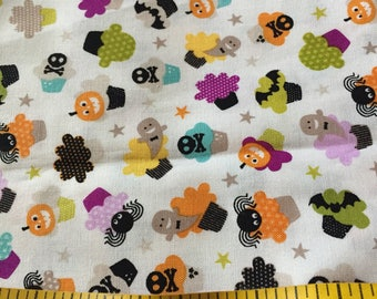 One Yard of Halloween Cupcakes Cotton Fabric for crafting doll clothes quilting
