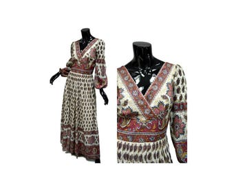 """Vintage 70s Gauze Maxi Dress, Size Small 8, Bust 34-35"""" ALTERED, Indian Print, Lined, Surplice Bodice, Empire Waist 1970s"""