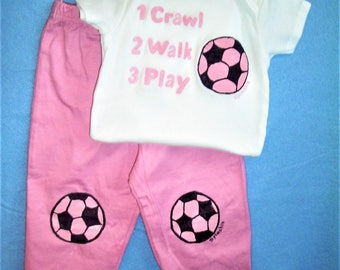 Soccer Baby Gift Set, Soccer Baby Outfit, Pink Soccer Set, 2 Piece Soccer Set, Crawl Walk Play Soccer, Baby Girl Sports Set