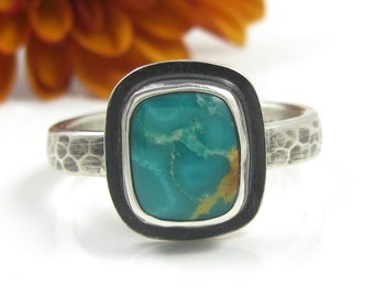 Turquoise Stacker Ring - sterling silver natural Carico Lake turquoise ring - US size 6 3/4 - green turquoise ring - size 6.75 - stacker