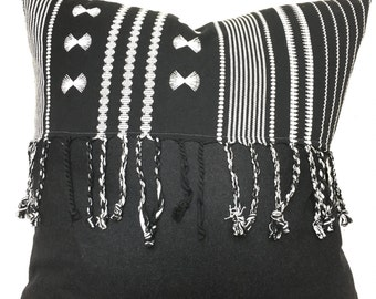 Moroccan embroidered textile w/ soft black wool & fringe pillow cover/boho