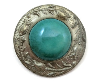 Arts and Crafts Brooch - Ruskin Style, Pottery in Tooled Metal, Prentice