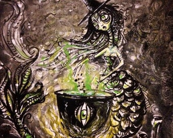 Sea Witch original pen and ink drawing and Watercolor painting