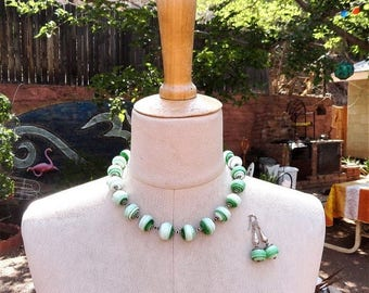 Spring Sale Time Lamp Work Green Necklace Recycled Spectrum Glass Hand Knotted