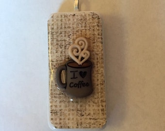 Domino Pendant Necklace - Coffee Themed Necklace - Domino Jewelry, Christmas Gift, Birthday Gift, Hostess Gift, Teacher Gift