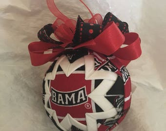University of Alabama Crimson Tide Inspired Quilted Ball Christmas Ornament Graduation Gift Birthday Gift