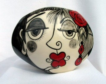 Small Oval Ceramic Pottery VASE Hand painted Picasso Style Lovers Faces, Black, White with Red Accents on Etsy