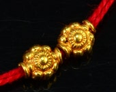 5mmx5.8mm 18k Solid Yellow Gold Fancy Flower Spacer Beads PAIR