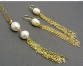ON Hold 14K Gold Pearl Necklace & Earrings Tassel Necklace Matching Earrings