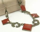 Art Deco Silver & Carnelian Necklace Czech Glass Riviera Necklace