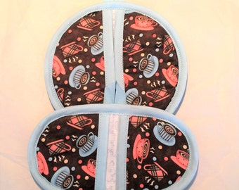 COFFEE CUPS Oven and Microwave Pot Holder Set for kitchen, cooking, baking, housewarming, birthday, holiday, gifts