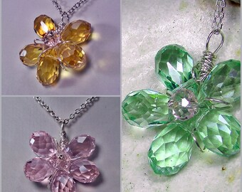 Dainty Flower Pendant Necklace Wire Wrapped in Sterling Silver; Pink Green Brown Glass Flower Pendant; Gift for her; Workplace Jewelry