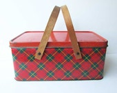 1940's Vintage Tin Storage Box, Picnic Basket, Tin Box Container Red, Dark Green Tartan Plaid, Bentwood Handles