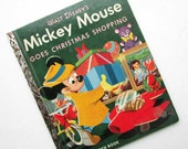Vintage 1953 Mickey Mouse Goes Christmas Shopping  Little Golden Book, Child's Picture Book. Vintage Walt Disney Book, LGB Book, Childs Book