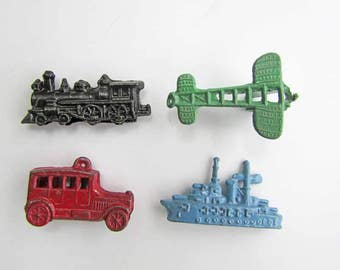 Set of 4 1940 Vintage Miniature Size Die Cast Metal Game Pieces, Mini Toys, Locomotive, Airplane, Automobile, Ship, Old Paint Colors