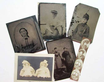 Lot of 6  Antique Victorian Tintypes and Small Photos, Women, Doll Photo, Photo Booth Strip Pic, 1890 Vintage Photos