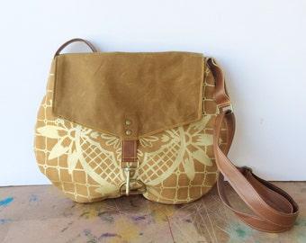 satchel • waxed canvas crossbody bag - geometric print • hand printed autumn orange canvas -metallic gold geometric floral print • talavera