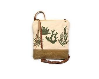 weekdayer • crossbody bag - cactus print • olive green cactus print - natural canvas - handprinted - brown waxed canvas • cross body purse