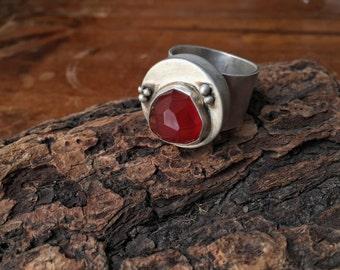 Hollow Free Form Carnelian Ring Silversmith - Metalsmith Jewelry