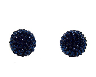 Navy Blue beaded beads handmade 14mm beads 2pcs