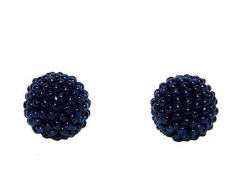 Navy Blue beaded beads handmade 14mm beads 2pcs