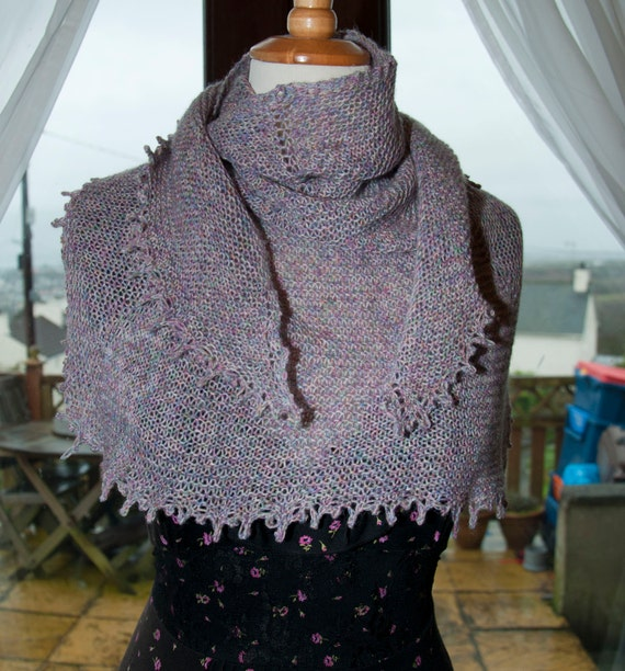 Handknitted Shawl/Shawlette in Speckled Yarn in Shades of Pink and Green