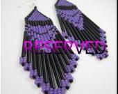 Custom Order - Native American Style Beadwork Dangle Seed Bead Earrings Sunset Fire for tootencarmen
