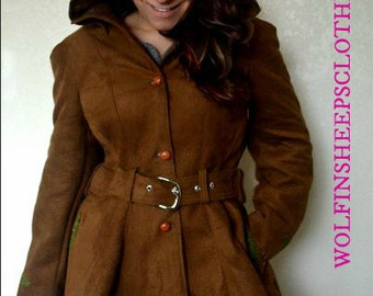 Hooded Faux Suede Coat Nutmeg Size Medium