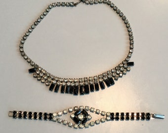 Vintage 1960s Rhinestone and Jet Black Stone Necklace and Bracelet Set-Wedding-prom-cocktail