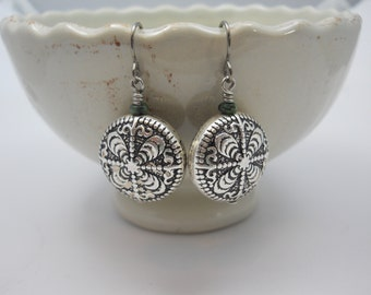 Silver Round Ornate Earrings Lucite Metal Dipped Lightweight Double Sided Niobium Ear Wires Hypoallergenic French Hooks Czech Glass Bead